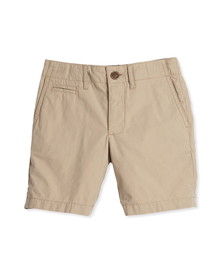 Burberry Super Exploded Straight-Leg Khaki Shorts, Honey, Size