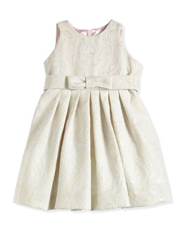 Floral-Jacquard Dress, Platinum/Ivory, Sizes 2-6X