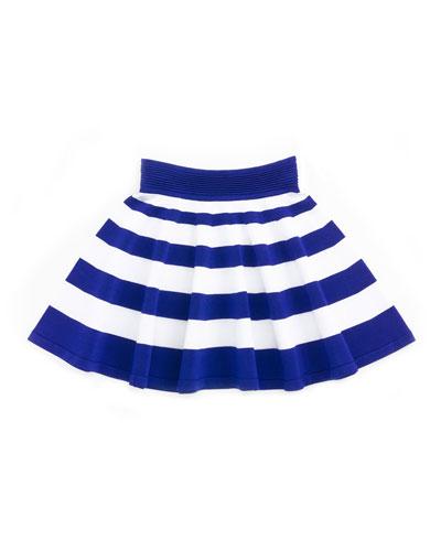 Striped Flare Skirt, Cobalt/White, Size 2-7