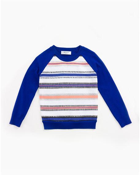 Milly Minis Couture-Stripe Raglan Sweatshirt, Cobalt, Size 8-14