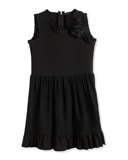 Sleeveless Fit-and-Flare Dress w/ Flower, Black, Sizes 4-6