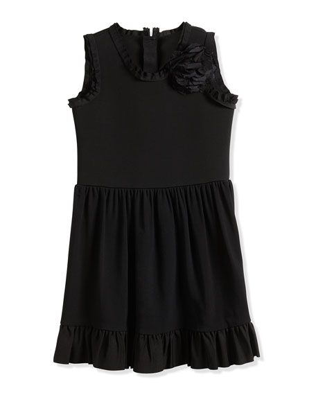 Lanvin Sleeveless Fit-and-Flare Dress w/ Flower, Black, Sizes