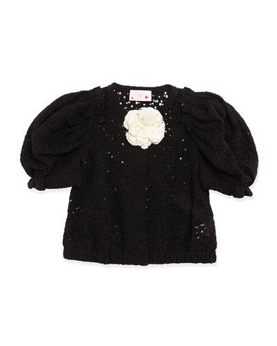 Short-Sleeve Lace Jacket, Black, Girls
