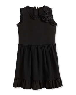 Sleeveless Fit-and-Flare Dress w/ Flower, Black, Size 8-12