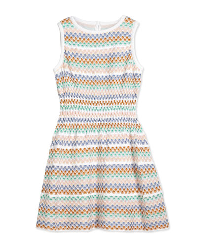 Polka Dot Striped Stretch Dress, White/Multicolor, Size 2T-10