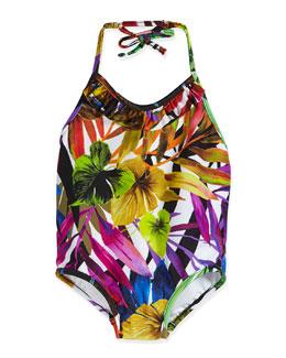 Tropical-Print One-Piece Halter Swimsuit, Multicolor, Size 2-7