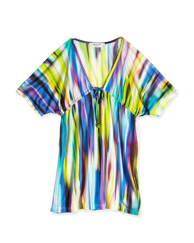Brushstroke-Print V-Neck Coverup, Multicolor, Size 2-7