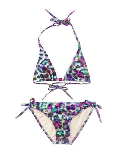 Mini Fiji Cheetah-Print Two-Piece Swimsuit, Multicolor, Size 8-14