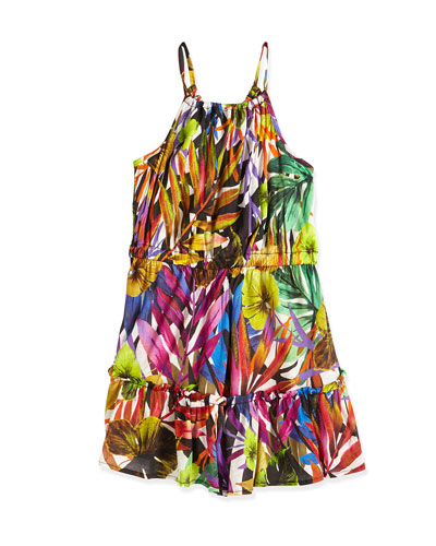 Tropical-Print Tiered Dress, Multicolor, Size 8-14