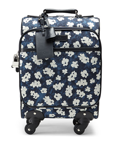 Floral-Print Wheeled Carry-On Bag, Blue