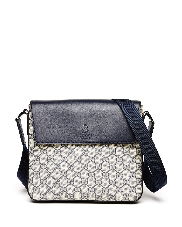 d400dfe1a1e Gucci Logo-Print Faux-Leather Messenger Bag, Beige | Neiman Marcus