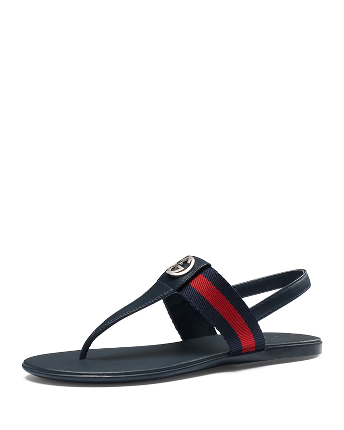 a31d1d786899aa Gucci Poppy Junior Web Leather Thong Sandal