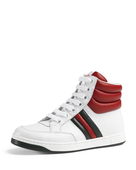 gucci ronnie junior leather high top sneaker white red green. Black Bedroom Furniture Sets. Home Design Ideas
