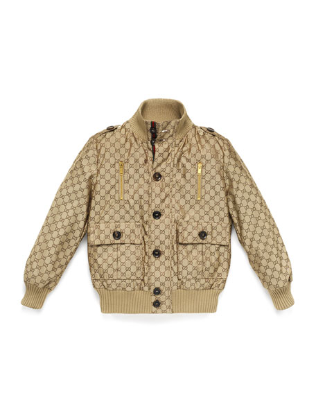 Gucci Logo-Jacquard Button-Front Bomber Jacket, Beige, Size 4-12
