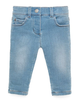 Terry-Lined Stretch-Denim Jeans, Aqua Marine, Size 3-36 Months