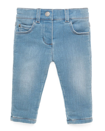 Terry-Lined Stretch-Denim Jeans, Aqua Marine, Size 3-36 Months