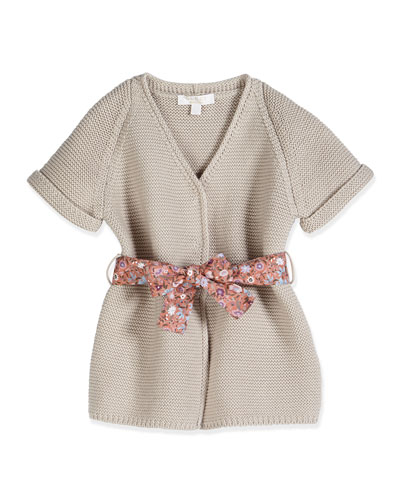 Short-Sleeve Belted Cardigan, Shell Pink, Size 3-36 Months
