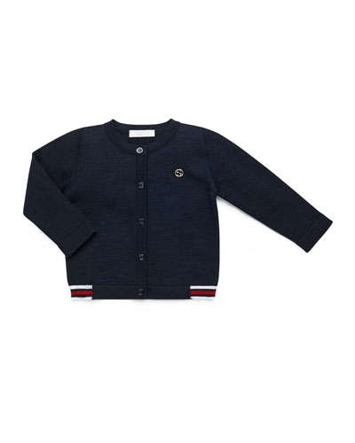 Long-Sleeve Button-Front Cardigan, Red/Navy/White, Size 3-36 Months