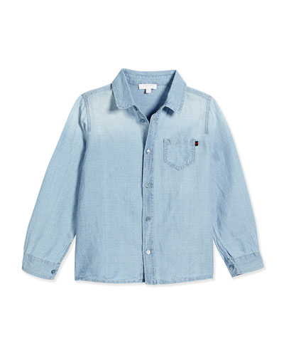 Bleached Chambray Long-Sleeve Shirt, Multi Blue, Size 3-36 Months