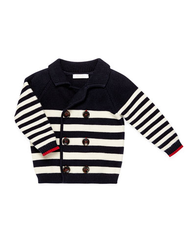 Double-Breasted Long-Sleeve Striped Cardigan, Blue/Red/White, Size 3-36 Months