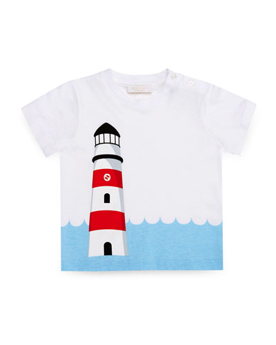 Lighthouse-Print Jersey Tee, Ivory/Multicolor, Size 3-36 Months