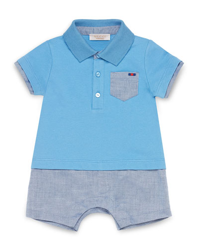 Pique & Chambray Shortall, Sky Blue, Size 3-18 Months
