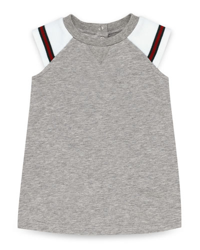 Sleeveless Fleece Raglan Dress, Gray/White, Size 0-36 Months
