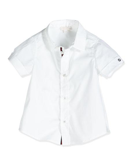 Short-Sleeve Poplin Shirt, White, Size 0-36 Months