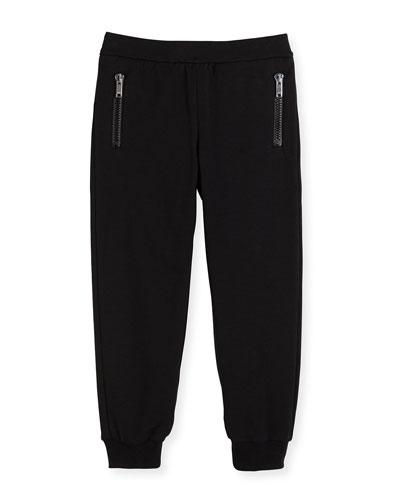 Stretch-Cotton Zip Track Pants, Black, Sizes 4-12