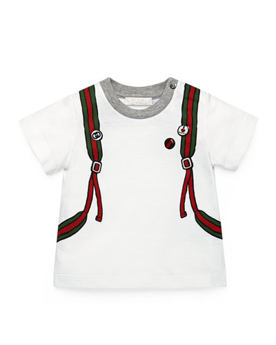 School Bag-Print Jersey Tee, White/Gray/Green, Size 0-36 Months