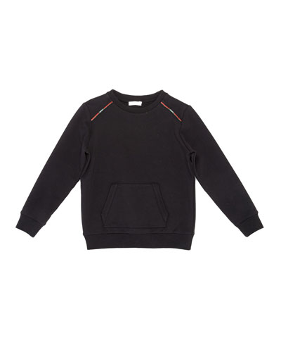 Fleece-Lined Raglan Sweater, Black, Size 4-12