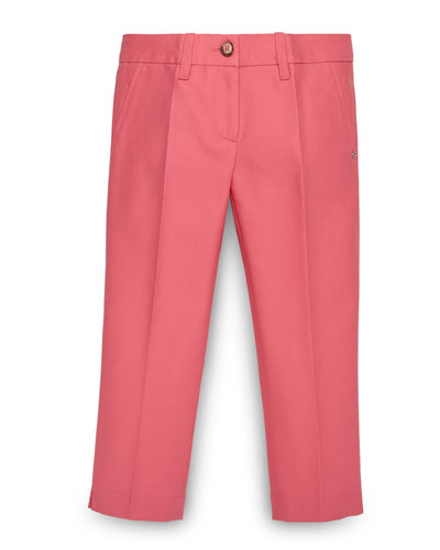 Pleated Stretch Jeans, Coral, Size 4-12