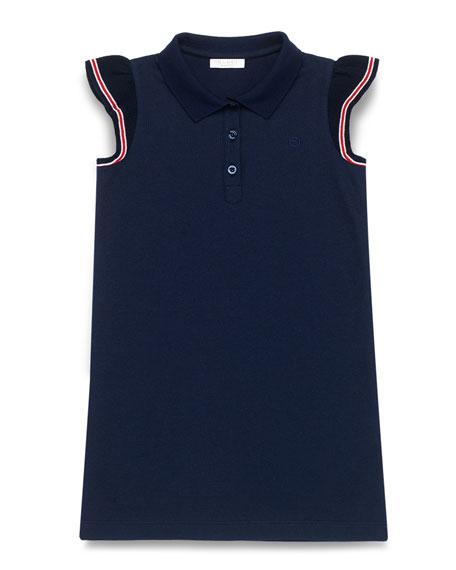 Gucci Stretch-Pique Polo Dress, Blue/Multicolor, Size 4-12