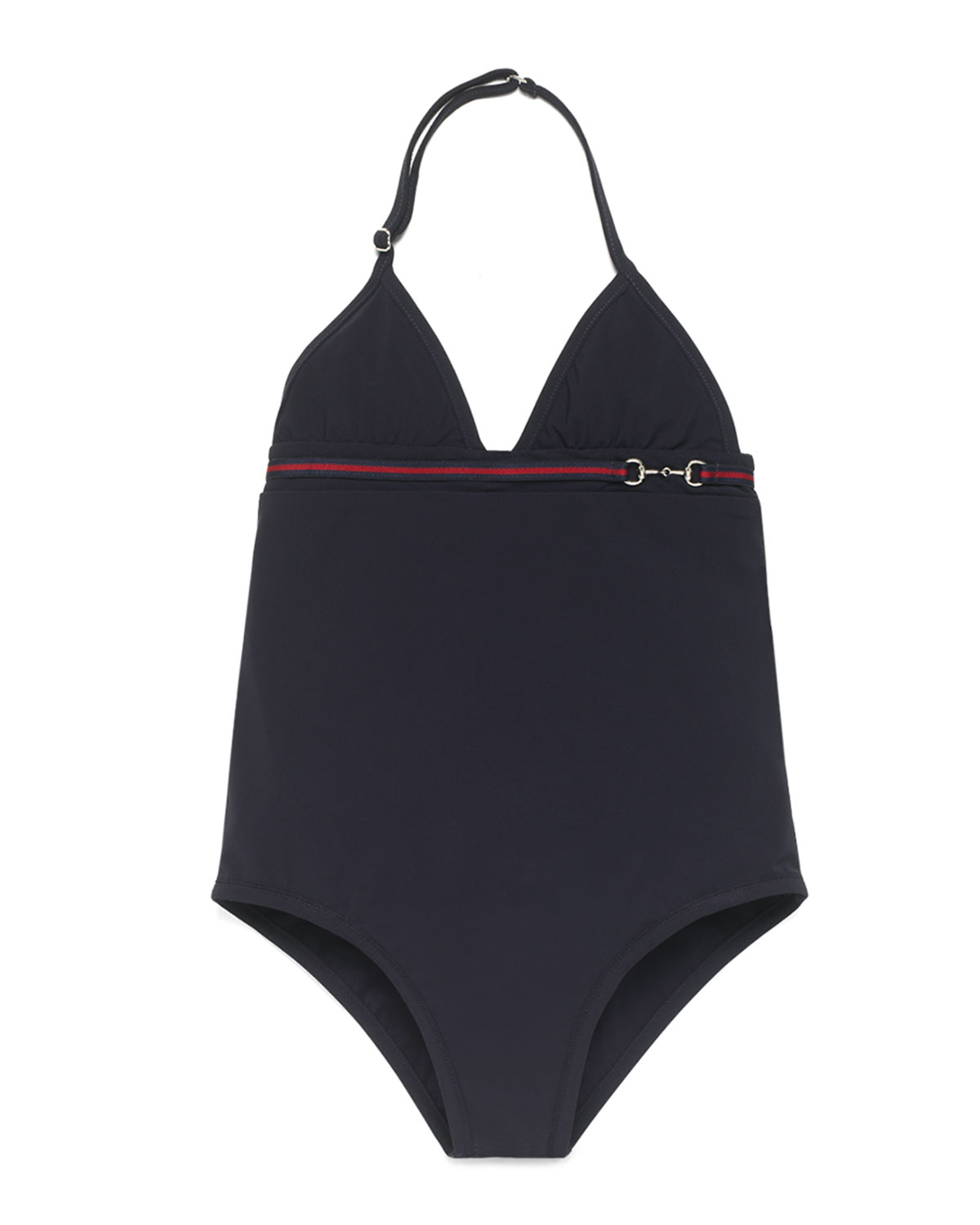 5ab775c6416d5 Gucci Banded One-Piece Swimsuit, Navy, Size 4-12 | Neiman Marcus