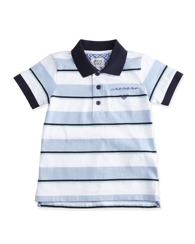Short-Sleeve Striped Polo Shirt w/ Paisley Detail, Blue/White, Size 2-8