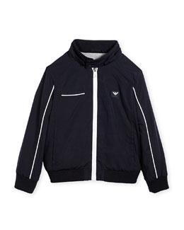 Jersey-Lined Lightweight Jacket, Navy, Size 2-8