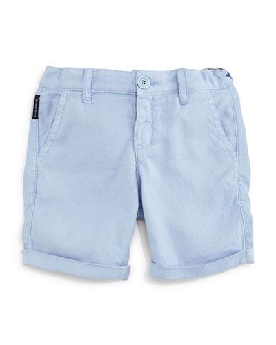 Cotton-Blend Pique-Knit Shorts, Light Blue, Size 2-8