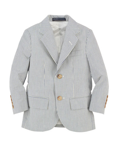 Polo I Striped Seersucker Jacket, Blue/Cream, Size 2-7