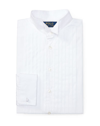 Knife-Pleated Poplin Dress Shirt, White, Boy's Sizes 4-7