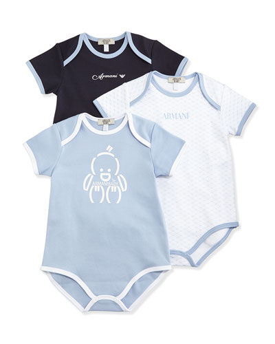 Cotton Playsuit 3-Piece Gift Set, Blue, Size 1-12 Months