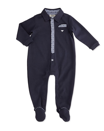 Plaid-Trim Footie Pajamas, Indigo, Size 1-9 Months