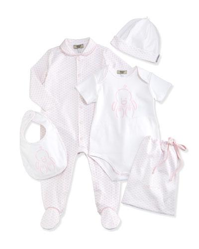 Logo-Print 5-Piece Gift Set, White/Pink, Size 1-12 Months