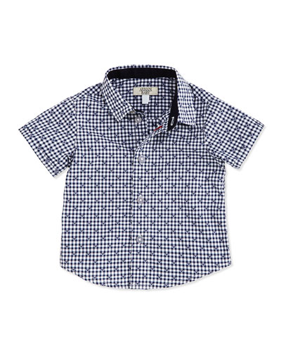 Short-Sleeve Logo-Print Shirt, Navy/White, 6-24 Months