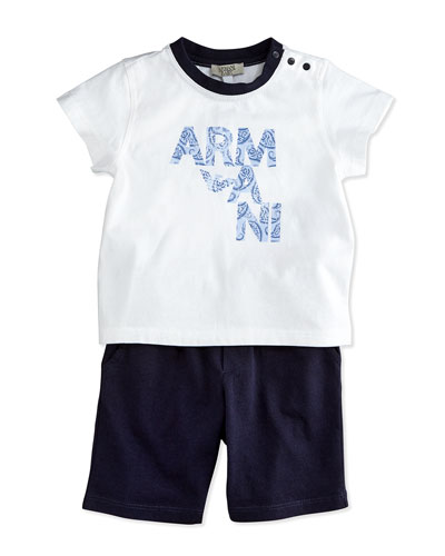 Two-Piece Cotton Short Set, White/Blue, Size 3-24 Months