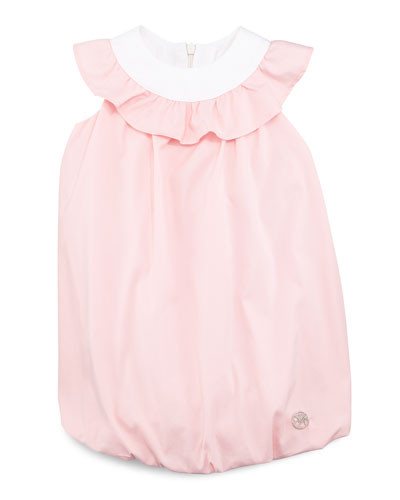 Ruffle-Trim Bubble Shift Dress, Pink/White, 3-24 Months