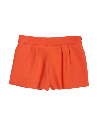 Doubleweave Stretch-Cady Pleated Shorts, Poppy, Size 2-7