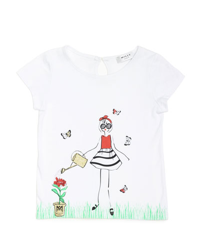 Milly Girl-Print Jersey Tee, White, Size 2-7