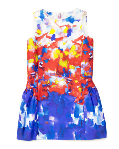 Watercolor-Print Party Dress w/ Bow Detail, Multicolor, Size 8-14