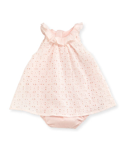 Eyelet Dress Overlay Bubble Bodysuit, Light Pink, Size 3-18 Months
