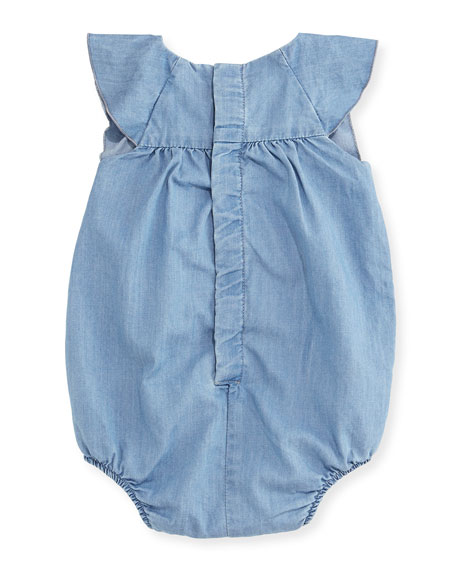 Bubble Chambray Bodysuit, Blue, Size 3-18 Months